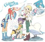 1boy 2girls azelf bandaid beedrill blonde_hair blue_footwear blue_gloves blue_shorts blush boots brown_footwear bugsy_(pokemon) closed_eyes commentary_request crop_top dated drinking drinking_straw gen_1_pokemon gen_3_pokemon gen_4_pokemon gen_5_pokemon gloves green_eyes green_pants green_shirt green_shorts green_wristband gym_leader hair_ornament holding holding_pokemon holster leaning_forward legendary_pokemon masquerain multiple_girls nibo_(att_130) open_mouth pants pokemon pokemon_(creature) pokemon_(game) pokemon_bw pokemon_xy purple_hair redhead shiny shiny_hair shirt shoes short_hair short_hair_with_long_locks short_shorts shorts sidelocks skyla_(pokemon) sleeveless sleeveless_shirt smile standing swanna teeth thigh_holster tongue translation_request viola_(pokemon) violet_eyes white_shirt wristband