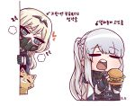 2girls @_@ ak-12_(girls_frontline) an-94_(girls_frontline) bangs black_gloves blonde_hair braid cat chibi closed_eyes eyebrows_visible_through_hair food french_braid girls_frontline gloves green_eyes hamburger heart highres long_hair long_sleeves looking_at_another multiple_girls noonnoon531 open_mouth partially_fingerless_gloves respirator silver_hair simple_background translation_request upper_teeth white_background