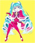 1055 1girl :d ball bangs blue_eyes blue_hair boots border capelet dress full_body fur-trimmed_boots fur-trimmed_capelet fur-trimmed_dress fur-trimmed_gloves fur_trim gloves gradient_hair hair_between_eyes hair_ornament hairclip hatsune_miku high_heel_boots high_heels highres invisible_chair long_hair looking_at_viewer multicolored_hair open_mouth red_capelet red_dress red_footwear red_gloves santa_costume shiny shiny_hair silver_hair simple_background sitting smile solo star_(symbol) star_hair_ornament striped striped_neckwear swept_bangs thigh-highs thigh_boots very_long_hair vocaloid white_border yellow_background