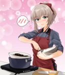 1girl abimaru_gup alternate_hairstyle apron bangs black_skirt blue_eyes blush bow bowl chocolate closed_mouth commentary_request cooking dress_shirt eyebrows_visible_through_hair flying_sweatdrops girls_und_panzer grey_shirt hair_bow hair_up highres holding holding_bowl insignia itsumi_erika knife kuromorimine_school_uniform long_sleeves looking_at_viewer medium_hair mixing mixing_bowl pink_background pleated_skirt pot purple_bow red_apron school_uniform shirt short_ponytail silver_hair skirt sleeves_rolled_up smile solo sparkle spoken_blush standing twitter_username whisk wing_collar