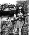 1girl bangs bitchcraft123 closed_eyes flight_deck greyscale ground_vehicle gun holding holding_gun holding_weapon intrepid_(kancolle) kantai_collection m1903_springfield military military_vehicle monochrome motor_vehicle neck_pillow open_clothes open_shirt photo_background ponytail running shirt short_sleeves skirt solo sweat tank vietnam_war weapon