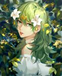1girl 2021 alternate_costume bangs bare_shoulders byleth_(fire_emblem) byleth_(fire_emblem)_(female) choker commentary dated dress english_commentary eyebrows_visible_through_hair fire_emblem fire_emblem:_three_houses flower from_side green_eyes green_hair hair_between_eyes hair_flower hair_ornament jewelry juliet_sleeves leaf lips long_hair long_sleeves looking_at_viewer nature outdoors parted_lips puffy_sleeves shadow shiny shiny_hair signature solo tang_xinzi teeth tiara upper_body white_choker white_dress white_flower