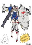 1boy 1girl :o anavel_gato bangs boots breasts eyebrows_visible_through_hair grey_hair gun gundam gundam_0083 gundam_gp-02_physalis hair_between_eyes highres holding holding_gun holding_shield holding_weapon i.takashi looking_down medium_breasts open_mouth personification shield short_hair sketch solo_focus thigh-highs thigh_boots thumbs_up v-shaped_eyebrows weapon white_background yellow_eyes