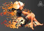 1girl back barefoot bike_shorts black_eyes black_serafuku black_shorts colored_sclera colored_skin english_commentary fiery_hair fire flaming_hand flat_chest from_side full_body highres horns long_hair midriff mole mole_under_eye oni_horns orange_sclera orange_skin original personification pointy_ears school_uniform serafuku shorts shorts_under_skirt skin-covered_horns solo xfiro