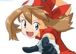 1girl :d arm_up bangs brown_hair commentary_request eyelashes floating_hair gloves green_eyes hair_between_eyes kibisakura2 looking_at_viewer may_(pokemon) open_mouth pointing pokemon pokemon_(anime) pokemon_rse_(anime) red_bandana red_shirt shirt short_sleeves simple_background smile solo tongue white_background
