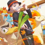 1boy autumn_leaves black_headwear black_pants bright_pupils buttons cane collared_shirt commentary_request facial_hair farfetch'd fire gen_1_pokemon gentleman_(pokemon) grey_hair hat hat_ribbon holding holding_cane jacket long_sleeves looking_at_viewer male_focus mustache necktie one_eye_closed pants pokemon pokemon_(game) pokemon_lgpe ponyta red_neckwear ribbon shirt standing tom_(pixiv10026189) white_shirt