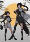 2girls asymmetrical_legwear belt black_belt black_dress black_eyes black_hair black_legwear boots branch closed_mouth dress eye_contact floating_hair height_difference high_heel_boots high_heels highres holding holding_sword holding_weapon jiliang_jiying_yumao long_hair looking_at_another multiple_girls original ponytail sheath single_sock single_thighhigh smile socks sword thigh-highs unsheathing weapon