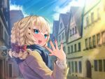 1girl :d akai_haato bangs blonde_hair blue_eyes blue_scarf blush bow braid brown_jacket city clouds commentary_request day eyebrows_visible_through_hair fingernails hair_bow hair_ornament hand_up heart heart_hair_ornament highres hololive jacket long_sleeves looking_at_viewer looking_back magowasabi medium_hair nail_polish open_mouth outstretched_hand plaid plaid_scarf red_bow red_nails scarf signature sky smile solo teeth twitter_username upper_teeth virtual_youtuber