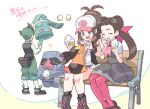 1boy 2girls :d ? antenna_hair baseball_cap bench black_legwear boots bronzong casteliacone closed_eyes commentary_request dress eyelashes fanny_pack gen_3_pokemon gen_4_pokemon gen_5_pokemon green_hair green_pants grey_dress grey_eyes hair_ribbon hat holding knees long_hair long_sleeves multiple_girls nibo_(att_130) nosepass on_bench on_lap open_mouth pants pantyhose pokemon pokemon_(creature) pokemon_(game) pokemon_bw pokemon_dppt pokemon_on_lap pokemon_oras pokemon_platinum ribbon shirt shoes short_sleeves shorts sidelocks sitting smile socks standing tepig thorton_(pokemon) translation_request twintails vest white_shirt