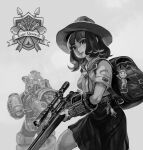 1girl animal_on_head arm_armor armor backpack bag belt black_skirt breasts closed_mouth commentary english_commentary fallout_(series) fallout_76 flipped_hair from_side full_armor grey_background greyscale gun hat helmet highres holding holding_gun holding_jar holding_weapon hu_hu key lips logo looking_at_viewer medium_hair monochrome neckerchief on_head pip_boy power_armor rifle scope scout_movement scout_uniform shirt short_sleeves simple_background skirt smile sniper_rifle upper_body vault_boy weapon