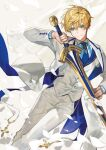 1boy absurdres arthur_pendragon_(fate) blonde_hair blue_neckwear chyoel closed_mouth excalibur_(fate/stay_night) fate/grand_order fate_(series) green_eyes head_tilt highres holding holding_sword holding_weapon jacket looking_at_viewer male_focus necktie open_clothes open_jacket pants smile solo standing sword vest weapon white_jacket white_pants white_vest