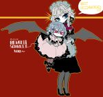 2girls :> :< alternate_costume apron bat_wings black_bow black_dress black_footwear blue_eyes bow braid carrying_under_arm character_name commentary_request dress earrings english_text frilled_bow frills full_body gendou_pose grey_hair hair_bow hands_clasped high_heels izayoi_sakuya jewelry long_sleeves maid_headdress medium_hair multiple_girls no_hat no_headwear own_hands_together pantyhose pink_dress pointy_ears purple_bow purple_neckwear red_background red_eyes remilia_scarlet shoes smile sparkle touhou twin_braids waist_apron wings yt_(wai-tei)