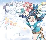 abomasnow bandaid bandaid_on_arm bandaid_on_nose black_hair blush bodysuit brown_eyes brown_skirt candice_(pokemon) closed_eyes commentary_request eyelashes gen_1_pokemon gen_3_pokemon gen_4_pokemon long_sleeves lucario machoke maylene_(pokemon) meditite mittens multi-tied_hair nibo_(att_130) open_mouth pink_hair pokemon pokemon_(creature) pokemon_(game) pokemon_dppt rolling scarf shoes short_hair skirt smile snow snowman socks striped striped_legwear tongue white_scarf