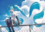 1girl absurdly_long_hair aqua_eyes aqua_hair aqua_nails aqua_neckwear bare_shoulders black_legwear black_skirt black_sleeves chain-link_fence clouds cloudy_sky commentary day detached_sleeves feet_out_of_frame fence floating_hair grey_shirt hair_ornament hatsune_miku headphones headset heridy highres long_hair looking_at_viewer miniskirt nail_polish necktie open_mouth outdoors pleated_skirt shirt shoulder_tattoo sitting_on_fence skirt sky sleeveless sleeveless_shirt smile solo tattoo thigh-highs twintails very_long_hair vocaloid zettai_ryouiki