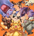 4o080_yotabnc chandelure cloak commentary_request dusclops fangs gen_1_pokemon gen_3_pokemon gen_4_pokemon gen_5_pokemon gen_6_pokemon gen_7_pokemon gengar halloween highres hood hood_up hooded_cloak mimikyu mismagius open_mouth orange_background orange_cloak phantump pikachu pokemon pokemon_(creature) pumpkaboo red_eyes sleeves_past_wrists teeth tongue tongue_out zubat