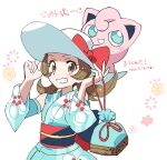 1girl bare_shoulders blush bow brown_eyes brown_hair commentary_request dated eyelashes gen_1_pokemon hands_on_headwear hat hat_bow holding jigglypuff looking_at_viewer lyra_(pokemon) nibo_(att_130) on_head pokemon pokemon_(creature) pokemon_(game) pokemon_masters_ex pokemon_on_head sash sketch smile sun_hat translation_request