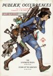 1girl bag bandaged_leg bandages belt black_hair blue_bodysuit bodysuit boots bottle brown_belt brown_footwear brown_headwear canister cartridge_case character_name closed_mouth combat_knife commentary energy_gun energy_weapon english_commentary english_text fallout_(series) fallout_4 fan fat_man_(fallout) fork from_side gloves gun hammer hat highres holding holding_gun holding_weapon key keychain knife lantern laser_rifle lips looking_away matthew_demino medium_hair nuka_cola nuka_cola_quantum parody pip_boy pipe piper_wright shoelaces single_glove solo spoon stimpak_(fallout) strap toaster vault_boy vault_suit walking weapon white_gloves wrench