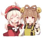 2girls :d bangs bell blonde_hair blush braid brown_hair cabbie_hat closed_eyes cropped_torso dress eyebrows_visible_through_hair feathers genshin_impact hair_bell hair_between_eyes hair_ornament hair_rings hand_up hat hat_feather jingle_bell klee_(genshin_impact) long_hair long_sleeves looking_at_viewer low_twintails multiple_girls open_mouth red_dress red_eyes red_headwear shirt simple_background sleeveless sleeveless_dress smile tutsucha_illust twintails upper_body white_background white_feathers white_shirt yaoyao_(genshin_impact)