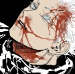 1boy black_background bleeding blood blood_from_mouth blood_on_face blue_eyes collared_jacket expressionless eyelashes gojou_satoru half-closed_eyes highres injury jujutsu_kaisen lying male_focus nosebleed open_mouth pale_skin parted_lips portrait simple_background syrnrr white_hair
