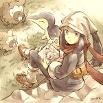 1girl backpack bag bidoof black_hair calligraphy_brush closed_mouth cyndaquil day drawing female_protagonist_(pokemon_legends:_arceus) from_above from_behind full_body gen_2_pokemon gen_4_pokemon grey_eyes head_scarf long_hair long_sleeves looking_at_viewer looking_back looking_up matsuri_(matsuike) on_rock outdoors paintbrush pokemon pokemon_(creature) pokemon_(game) pokemon_legends:_arceus ponytail red_scarf rock scarf sidelocks sitting