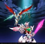 arm_blade clenched_hand didalion energy_blade falling fighting glowing glowing_eye green_eyes highres looking_back malbion mecha merafdin night night_sky no_humans official_art oobari_masami open_hand science_fiction second-party_source sky super_robot_wars super_robot_wars_dd weapon