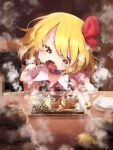 1girl bangs black_vest blonde_hair blush cup eating fangs food fork gomeifuku good_meat_day hair_ribbon highres holding holding_fork holding_knife knife meat open_mouth plate red_eyes ribbon rumia shirt short_hair sitting solo steak steam sweat sweating_profusely table touhou vest