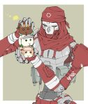 1boy annoyed apex_legends border crossover green_background guinea_pig holding humanoid_robot looking_down molcar outside_border piston pui_pui_molcar rai_(scrambleriot) red_bandana revenant_(apex_legends) science_fiction solo_focus white_border yellow_eyes