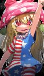1girl arm_above_head arm_up blonde_hair breasts clownpiece cowboy_shot crazy_eyes highres long_hair looking_at_viewer red_eyes ringed_eyes small_breasts solo thigh_gap touhou zakozako_y