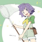 1boy :d belt bugsy_(pokemon) collared_shirt dated green_shirt green_shorts gym_leader holding holding_butterfly_net leaves_in_wind looking_back male_focus nibo_(att_130) open_mouth pokemon pokemon_(game) pokemon_hgss purple_hair shirt short_hair shorts smile solo teeth tongue violet_eyes