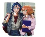 1boy 1girl :o alternate_costume bag bangs blonde_hair blush book collared_shirt couple cropped_legs denim denim_jacket freyja_wion hair_between_eyes hair_ornament hairclip hallway hand_on_another's_shoulder hayate_immelmann heart heart_hair_ornament hetero highres holding holding_bag holding_book jacket jeans looking_at_viewer macross macross_delta mosako multicolored_hair open_mouth orange_hair pants pink_jacket plaid plaid_shirt red_shirt shirt shirt_tucked_in watch watch