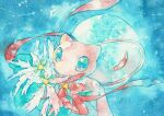 aqua_eyes flower gen_1_pokemon looking_at_viewer mew mythical_pokemon no_humans pokemon pokemon_(creature) red_ribbon ribbon rrrpct shiny solo symbol_commentary traditional_media watercolor_(medium)