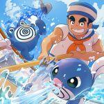 >_< 1boy black_hair bucket clenched_teeth clouds commentary_request day from_below gen_1_pokemon hat holding male_focus orange_neckwear outdoors pants pokemon pokemon_(game) pokemon_lgpe poliwag poliwhirl sailor_(pokemon) shirt short_hair short_sleeves sky spilling standing teeth tom_(pixiv10026189) water white_pants white_shirt