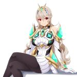 1girl absurdres armor bangs bare_shoulders breasts corrin_(fire_emblem) corrin_(fire_emblem)_(female) dress earrings elbow_gloves fire_emblem fire_emblem_fates gloves hair_between_eyes hair_ornament hairband headpiece highres jewelry long_hair manakete mythra_(xenoblade) pointy_ears red_eyes seityr short_dress silver_hair super_smash_bros. swept_bangs thigh_strap tiara very_long_hair white_dress white_gloves xenoblade_chronicles_(series) xenoblade_chronicles_2
