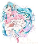 1girl bangs blue_eyes blue_hair breasts closed_mouth detached_sleeves dress floating_hair flower from_side full_body hair_between_eyes hair_flower hair_ornament hatsune_miku high_heels kyashii_(a3yu9mi) layered_dress lily_(flower) long_hair long_sleeves medium_breasts pink_capelet pink_dress pink_footwear pumps see-through shiny shiny_hair sleeveless sleeveless_dress solo thigh-highs very_long_hair vocaloid white_background white_flower white_legwear white_sleeves