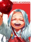 1girl 4o080_yotabnc boku_no_hero_academia candy_apple child closed_eyes commentary_request copyright_name eri_(boku_no_hero_academia) fingernails food highres holding holding_food horns long_hair open_mouth red_background shirt silver_hair single_horn solo two-tone_background white_background