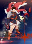 1boy armor bare_legs beard boku_no_hero_academia christmas covered_abs facial_hair feathers from_above full_body highres holding holding_sword holding_weapon jacket koooogasya large_pectorals male_focus mature_male muscular muscular_male parody_request red_feathers red_jacket redhead santa_costume short_hair shoulder_armor sideburns skirt solo spaulders spiky_hair sword thick_thighs thighs todoroki_enji weapon white_skirt wind