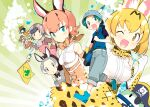 1boy animal_ears animal_print apron aqua_eyes backpack bag belt black_shirt blonde_hair blue_eyes blue_footwear blue_vest bow bowtie breasts brown_eyes brown_shirt caracal_(kemono_friends) caracal_ears donkey_(kemono_friends) donkey_ears eyepatch flag giant_armadillo_(kemono_friends) giant_pangolin_(kemono_friends) green_background green_hair hat hat_feather highres kemono_friends kyururu_(kemono_friends) lucky_beast_(kemono_friends) medium_breasts multicolored_hair multiple_girls naitou_ryuu official_art orange_hair orange_skirt pirate_hat ponytail poster_(object) red_eyes serval_(kemono_friends) serval_ears serval_print shirt skirt sleeveless sleeveless_shirt small_breasts spot-billed_duck_(kemono_friends) striped striped_background tail third-party_edit vest white_shirt yellow_eyes