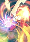 absurdres blaziken blue_eyes blurry claws colored_sclera commentary energy fire gen_3_pokemon grass higa-tsubasa highres looking_at_viewer no_humans open_mouth pokemon pokemon_(creature) solo standing tongue yellow_sclera