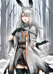 1girl animal_ear_fluff animal_ears arknights bare_tree belt black_gloves black_legwear capelet character_request coat commentary cowboy_shot english_commentary forest gloves grey_coat grey_hair hair_ornament hair_over_one_eye hairclip hand_on_own_chest long_hair nature open_mouth rabbit_ears snow snowing solo thigh-highs tree turtleneck twrlare zettai_ryouiki