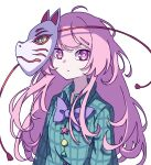 1girl absurdres bangs bow bowtie bright_pupils circle closed_mouth collared_shirt cross expressionless eyebrows_behind_hair fox_mask green_shirt hata_no_kokoro highres kame_(kamepan44231) long_hair long_sleeves looking_at_viewer mask mask_on_head one-hour_drawing_challenge pink_hair plaid plaid_shirt purple_bow purple_neckwear shirt simple_background solo star_(symbol) touhou triangle upper_body white_background white_pupils