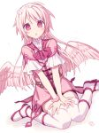 1girl :o bangs boots dress dutch_angle eyebrows_visible_through_hair feathered_wings flower hair_flower hair_ornament hijiri_(resetter) long_hair looking_at_viewer low_wings original parted_lips petals pink_dress pink_hair pink_wings red_eyes short_sleeves sitting solo thigh-highs very_long_hair wariza white_background white_flower white_footwear white_legwear wings