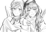 2girls absurdres alternate_costume bangs beret collared_shirt drill_hair fur_jacket fur_scarf greyscale hair_between_eyes hat highres kaname_buccaneer leaning_on_person long_hair macross macross_delta mikumo_guynemer monochrome mosako multiple_girls off-shoulder_jacket shirt short_hair sketch sleeveless sleeveless_shirt smile upper_body