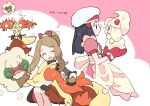 2girls alcremie alcremie_(strawberry_sweet) apron black_hair blush_stickers brown_hair brushing closed_eyes commentary_request dated dawn_(pokemon) delphox dress eyelashes food food_on_face gen_5_pokemon gen_6_pokemon gen_8_pokemon hair_brush hair_ornament hat holding holding_pokemon long_hair mittens multiple_girls nibo_(att_130) open_mouth oven_mitts pink_dress pokemon pokemon_(creature) pokemon_(game) pokemon_masters_ex serena_(pokemon) smile tongue whimsicott white_headwear