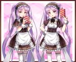 1girl alternate_costume bangs black_dress blush box breasts dress enmaided euryale_(fate) fate/hollow_ataraxia fate_(series) frilled_hairband frills gift gift_box hairband kasaran long_hair looking_at_viewer maid open_mouth purple_hair siblings sisters small_breasts smile stheno_(fate) thigh-highs thighs twins twintails very_long_hair violet_eyes