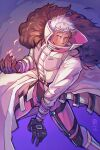 1girl bangs black_gloves closed_mouth coat dark_skin dark_skinned_male dated fire fur_trim gloves highres krizalid long_sleeves looking_at_viewer pants phy_lucius pyrokinesis scar scar_across_eye short_hair solo standing the_king_of_fighters white_coat white_hair
