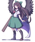 1girl absurdres arm_cannon bangs bird_wings black_legwear black_wings blouse bow brown_footwear brown_hair cape center_frills closed_mouth collared_blouse eyebrows_behind_hair frills full_body green_bow green_skirt hair_bow highres kame_(kamepan44231) long_hair looking_at_viewer mismatched_footwear one-hour_drawing_challenge red_eyes reiuji_utsuho shadow short_sleeves simple_background skirt smile solo standing starry_sky_print thigh-highs third_eye touhou weapon white_background white_blouse white_cape wings