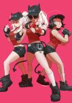 3girls aviator_sunglasses black_hair black_headwear blue_eyes boots breasts character_request contrapposto cuffs demon_horns demon_tail handcuffs hat heart heart-shaped_pupils helltaker highres horns justice_(helltaker) large_breasts looking_at_viewer midriff multiple_girls pink_background raneblu shaded_face short_hair short_shorts shorts socks sunglasses sweat symbol-shaped_pupils tail twitter_username white_hair white_legwear
