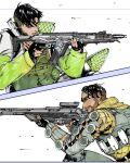 2boys aiming apex_legends assault_rifle black_eyes black_hair crypto_(apex_legends) cyborg facial_hair from_side goatee green_vest grey_jacket gun hillprime holding holding_gun holding_weapon jacket marker_(medium) mirage_(apex_legends) multiple_boys parted_lips r-301_carbine rifle science_fiction skirt sniper_rifle traditional_media triple_take vest weapon