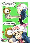 1girl ant-man_(movie) blue_hair bolt check_translation closed_eyes cosplay dawn_(pokemon) elaine_(pokemon) elaine_(pokemon)_(cosplay) excited gen_7_pokemon heart highres holding holding_pokemon hug meltan meme mythical_pokemon pink_skirt pokemon pokemon_(creature) pokemon_(game) scarf siczak skirt sleeveless smile spanish_text translation_request