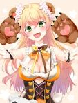 1girl :d absurdres animal_bag animal_ears arm_garter arms_up bare_shoulders bear_bag bear_ears bear_girl bear_paws bell blonde_hair blush bodice bow bowtie breasts cleavage_cutout clothing_cutout corset cutout_above_navel flower frilled_shirt frills gloves gradient_hair green_eyes hair_flower hair_ornament head_tilt highres hololive jingle_bell large_breasts long_hair looking_at_viewer momosuzu_nene multicolored_hair multicolored_neckwear neck_bell open_mouth orange_shirt paw_gloves paw_pose paws peach_ornament pink_hair shirt sleeveless sleeveless_shirt smile solo straight-on umitorin underbust upper_body upper_teeth virtual_youtuber